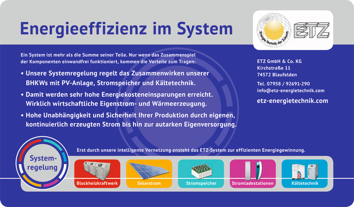 Energieeffizienz im System – ETZ Energietechnik, Blaufelden